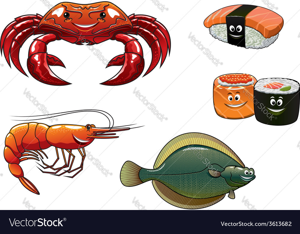 Seafood cartoon characters vector | Price: 1 Credit (USD $1)