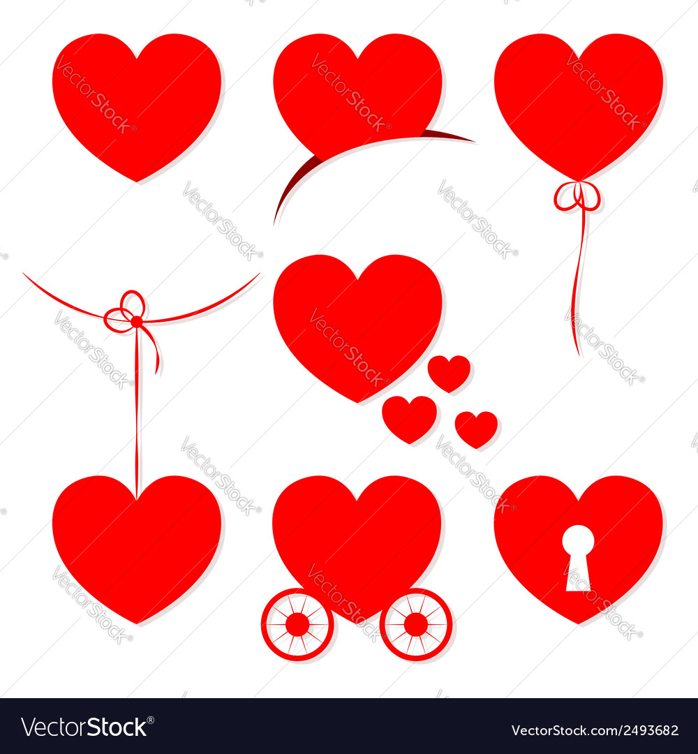 Set of 7 valentines day hearts vector | Price: 1 Credit (USD $1)