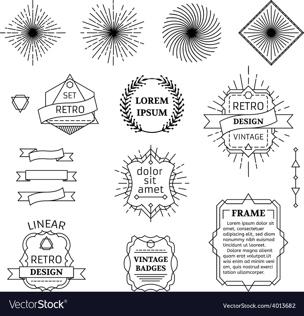Set of linear design elements vector | Price: 1 Credit (USD $1)