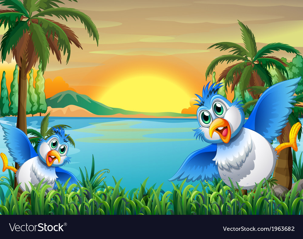 Two colorful birds at the riverbank vector | Price: 3 Credit (USD $3)
