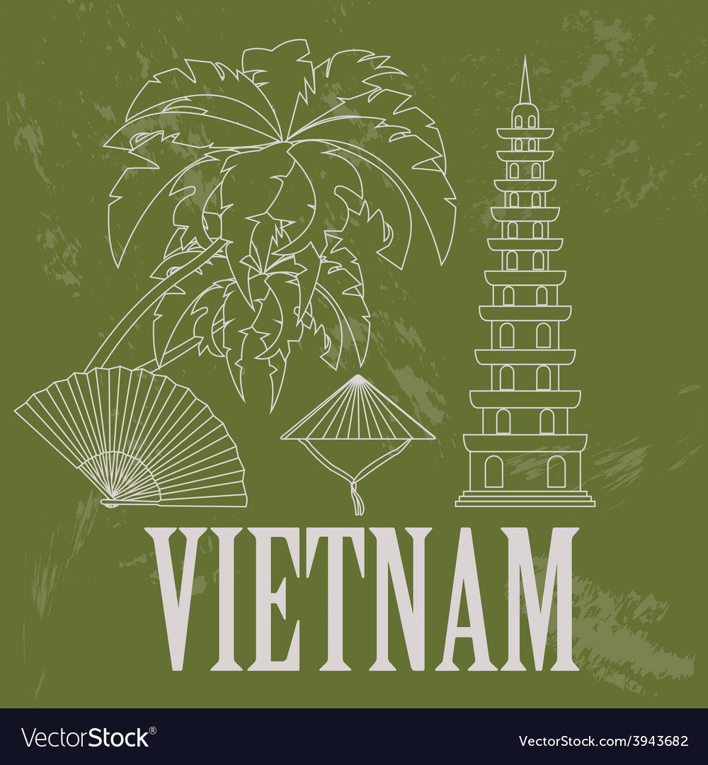 Vietnam landmarks retro styled image vector | Price: 1 Credit (USD $1)