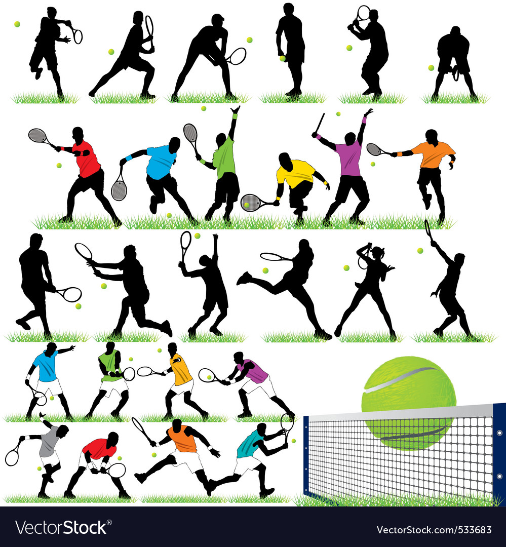 26 tennis players silhouettes set vector | Price: 1 Credit (USD $1)