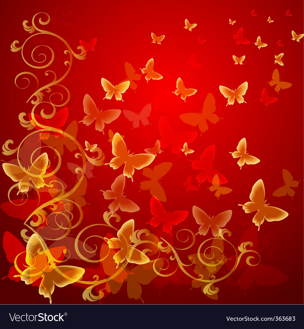 Abstract colorful background with butterflies vector | Price: 1 Credit (USD $1)