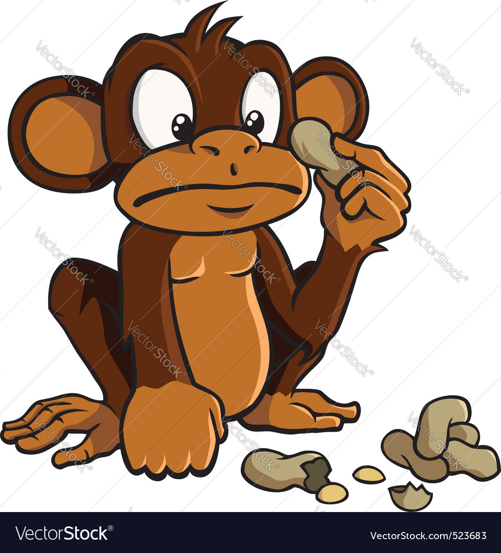 Cartoon monkey with peanuts vector | Price: 3 Credit (USD $3)