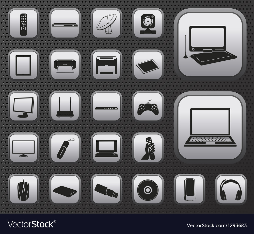 Computer electronic and media device icons set vector | Price: 1 Credit (USD $1)