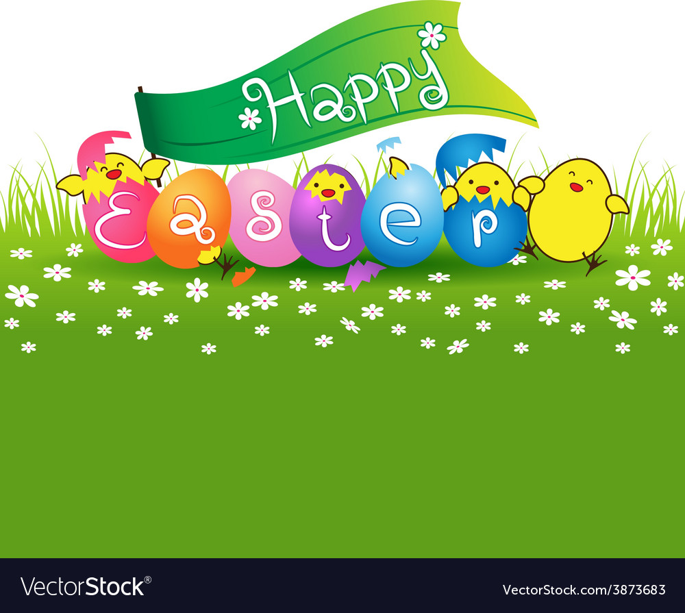 Cute baby chicken and colorful eggs for easter day vector | Price: 1 Credit (USD $1)