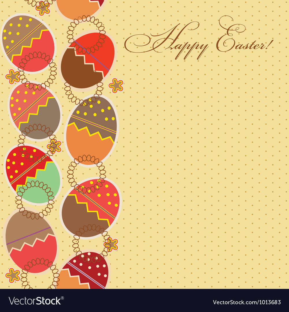 Greeting card with different easter eggs vector | Price: 1 Credit (USD $1)