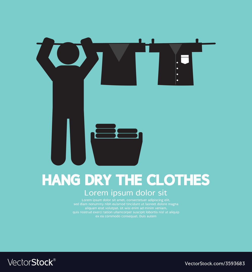 Hang the clothes on a clothesline vector | Price: 1 Credit (USD $1)