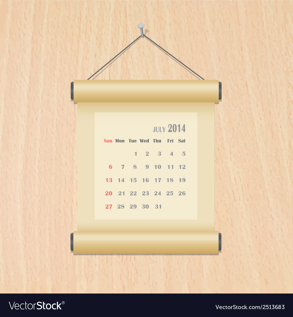 July2014 calendar on wood wall vector | Price: 1 Credit (USD $1)