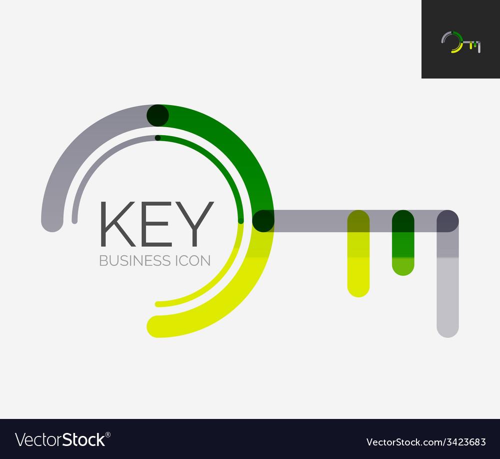 Minimal line design logo key icon vector | Price: 1 Credit (USD $1)