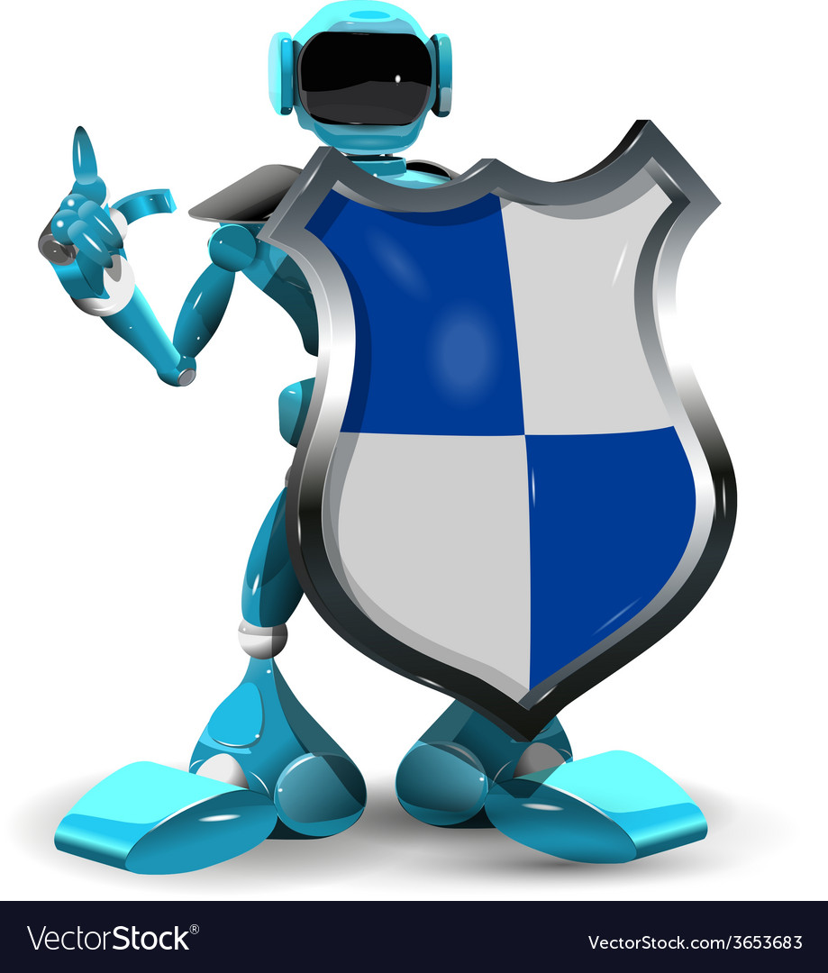 Robot with a shield vector | Price: 3 Credit (USD $3)