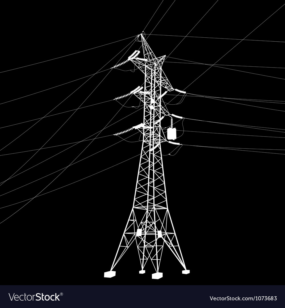Silhouette of high voltage power line vector | Price: 1 Credit (USD $1)