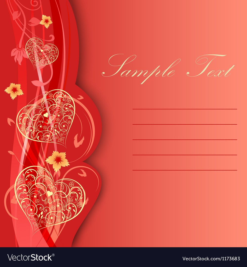 Valentine day card with hearts and flowers vector | Price: 1 Credit (USD $1)