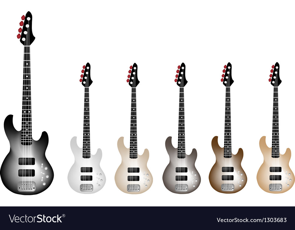 Vintage electric guitars on white background vector | Price: 1 Credit (USD $1)