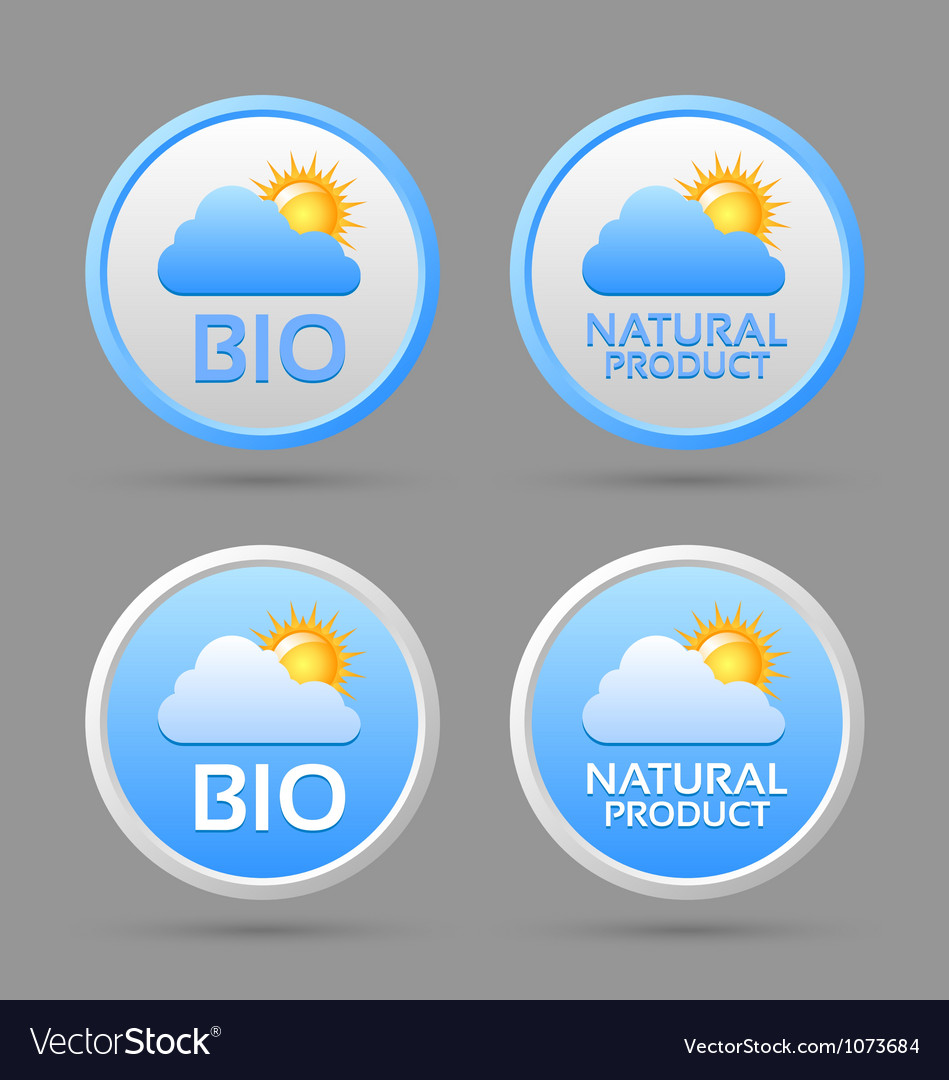 Bio and natural product badge icons vector | Price: 1 Credit (USD $1)