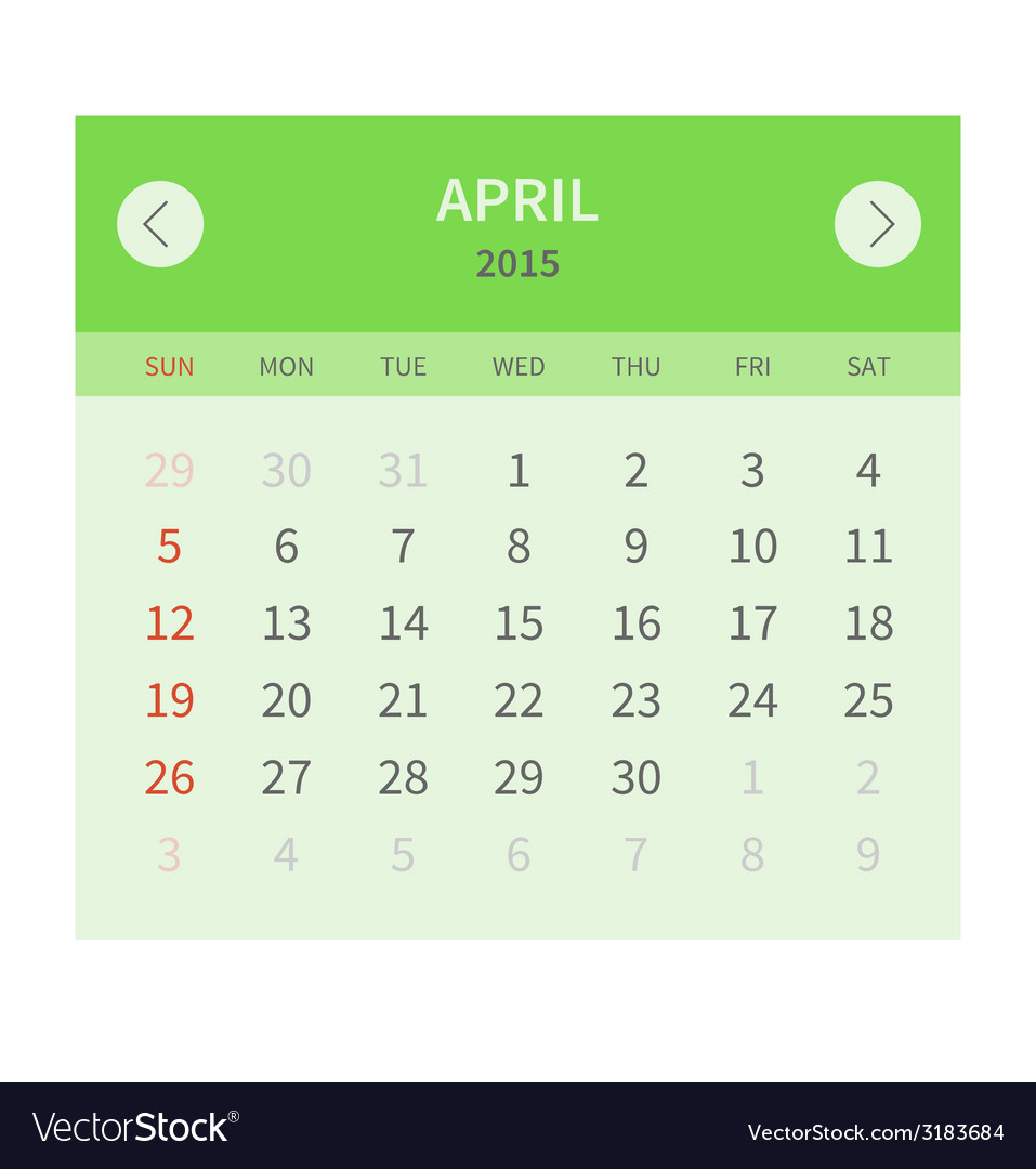 Calendar monthly april 2015 in flat design vector | Price: 1 Credit (USD $1)
