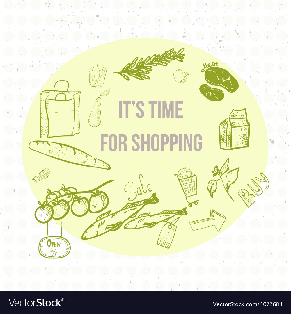 Doodle eco shopping banner eps10 vector | Price: 1 Credit (USD $1)