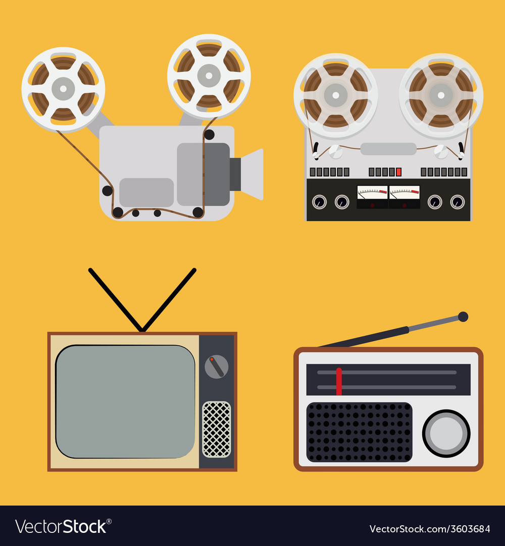 Flat design retro objects with a film projector vector | Price: 1 Credit (USD $1)