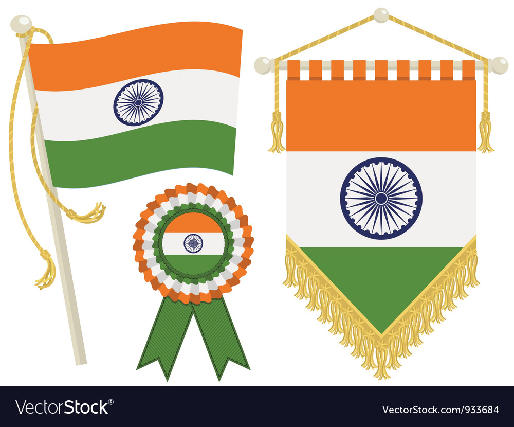 India flags vector | Price: 1 Credit (USD $1)
