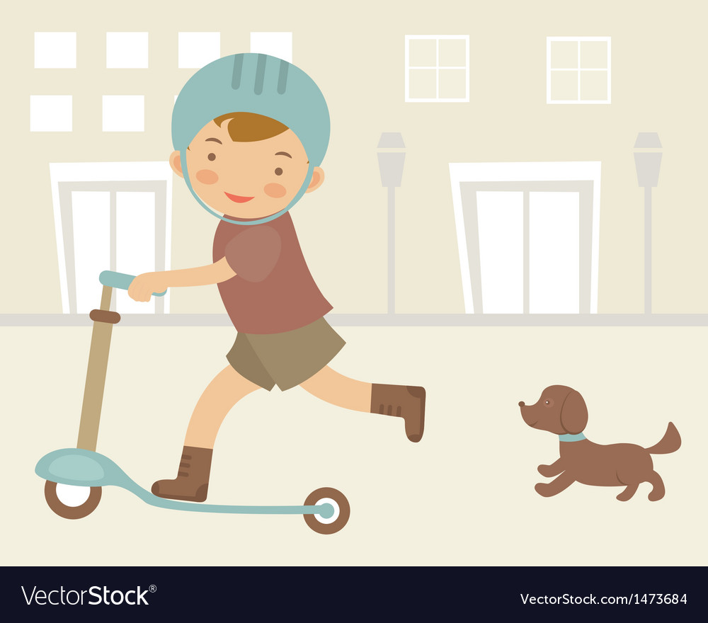 Little boy on scooter vector | Price: 1 Credit (USD $1)