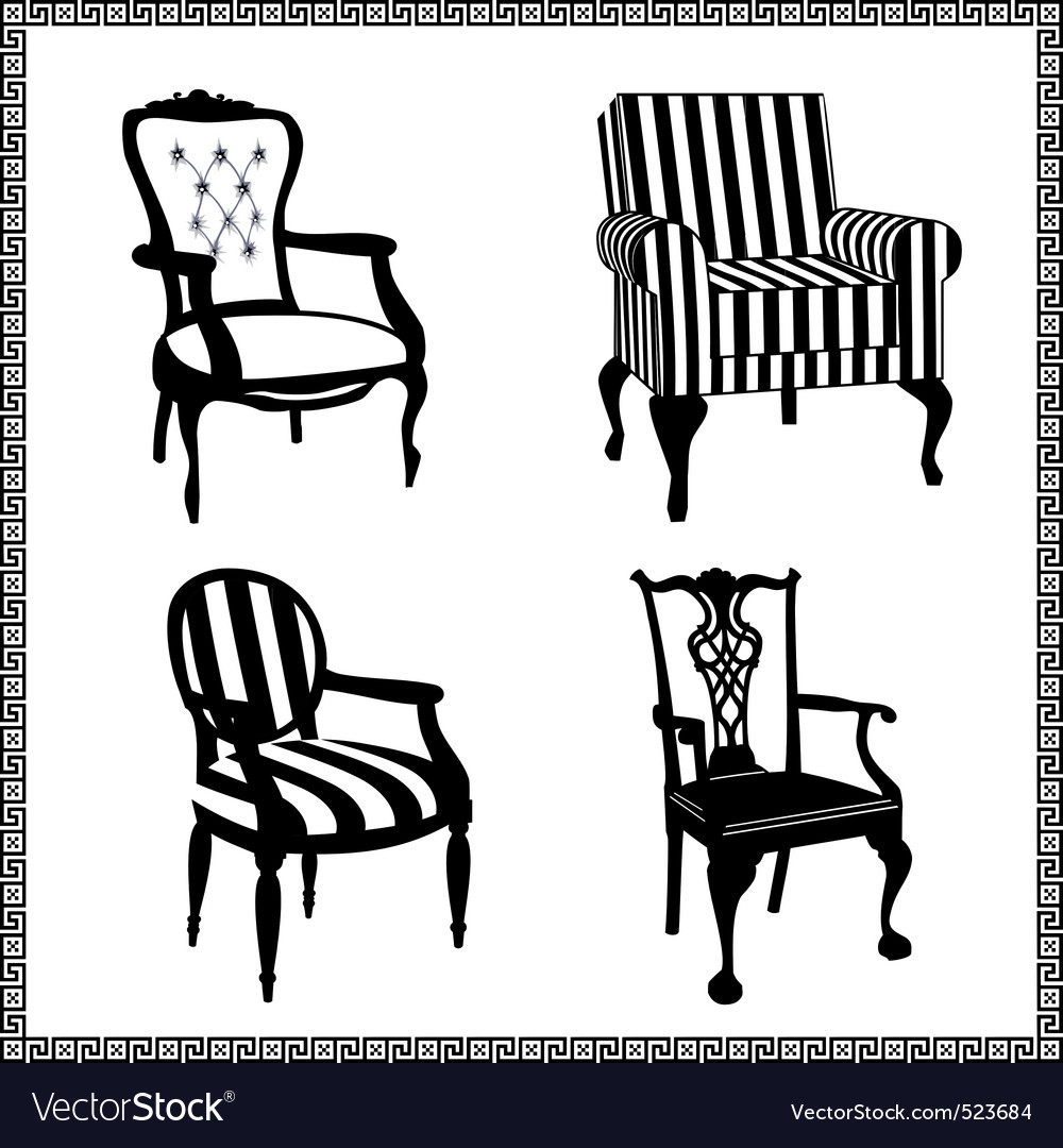 Set of antique chairs silhouet vector | Price: 1 Credit (USD $1)