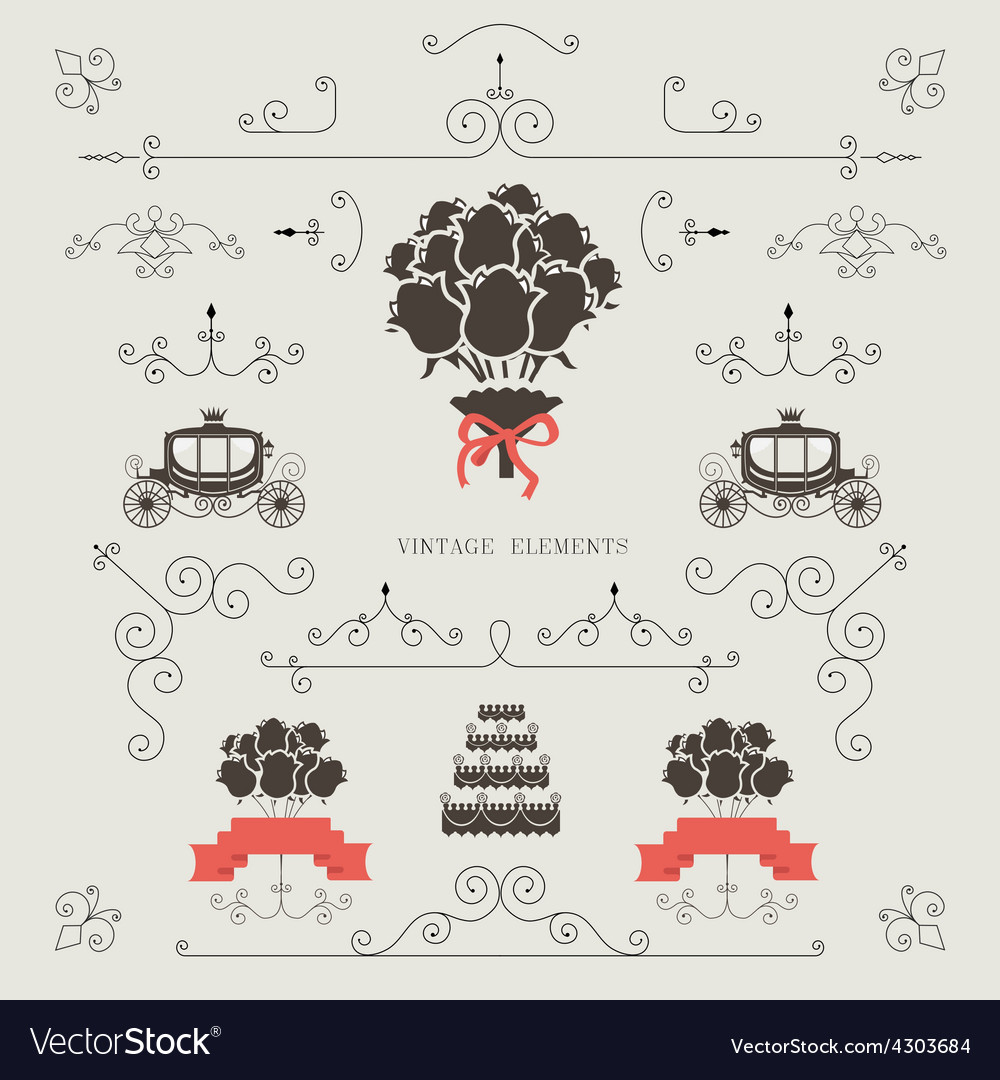 Set of vintage elements wedding invitation vector | Price: 1 Credit (USD $1)