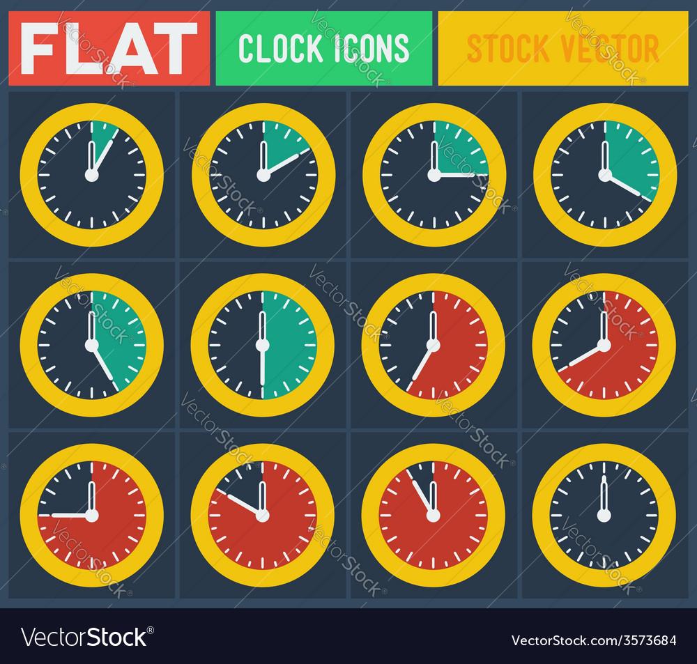 Set of vintage flat clocks vector | Price: 1 Credit (USD $1)
