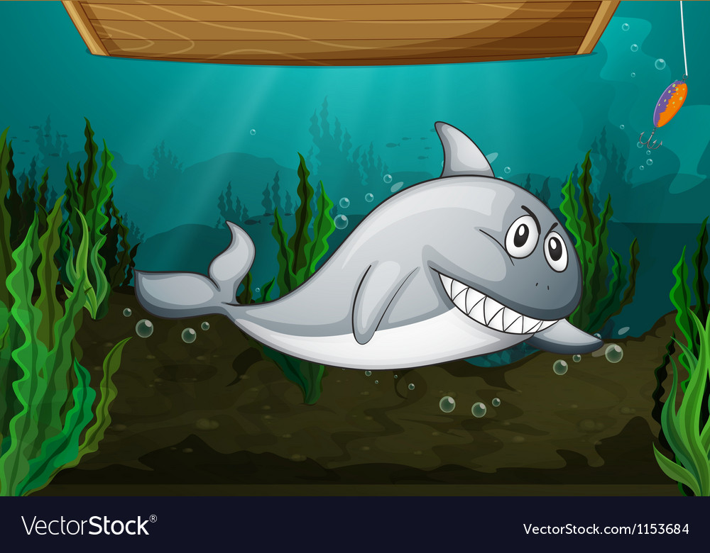 Shark fish and a bench vector | Price: 1 Credit (USD $1)