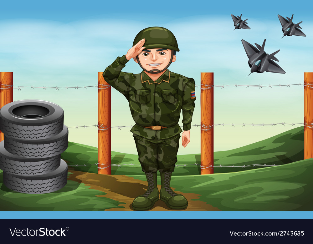 A soldier in front of the barbwire fence vector | Price: 1 Credit (USD $1)