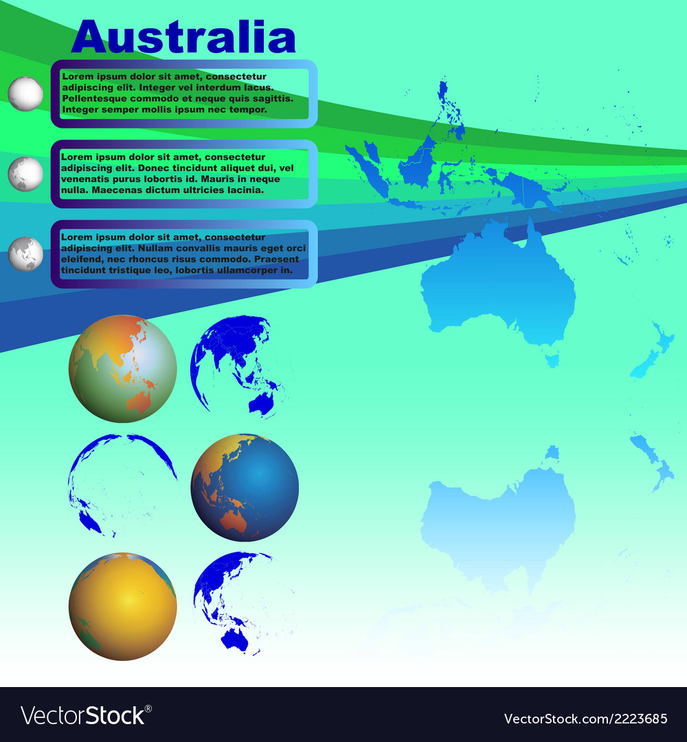 Australia map on blue background vector | Price: 1 Credit (USD $1)