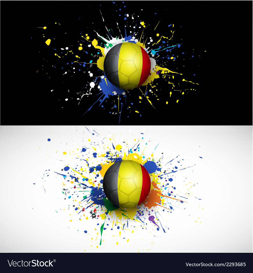 Belgium flag with soccer ball dash on colorful vector | Price: 1 Credit (USD $1)