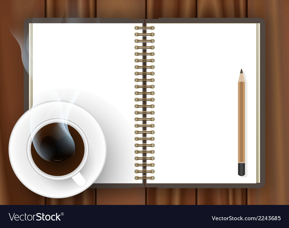 Blank notebook with coffee cup vector | Price: 1 Credit (USD $1)