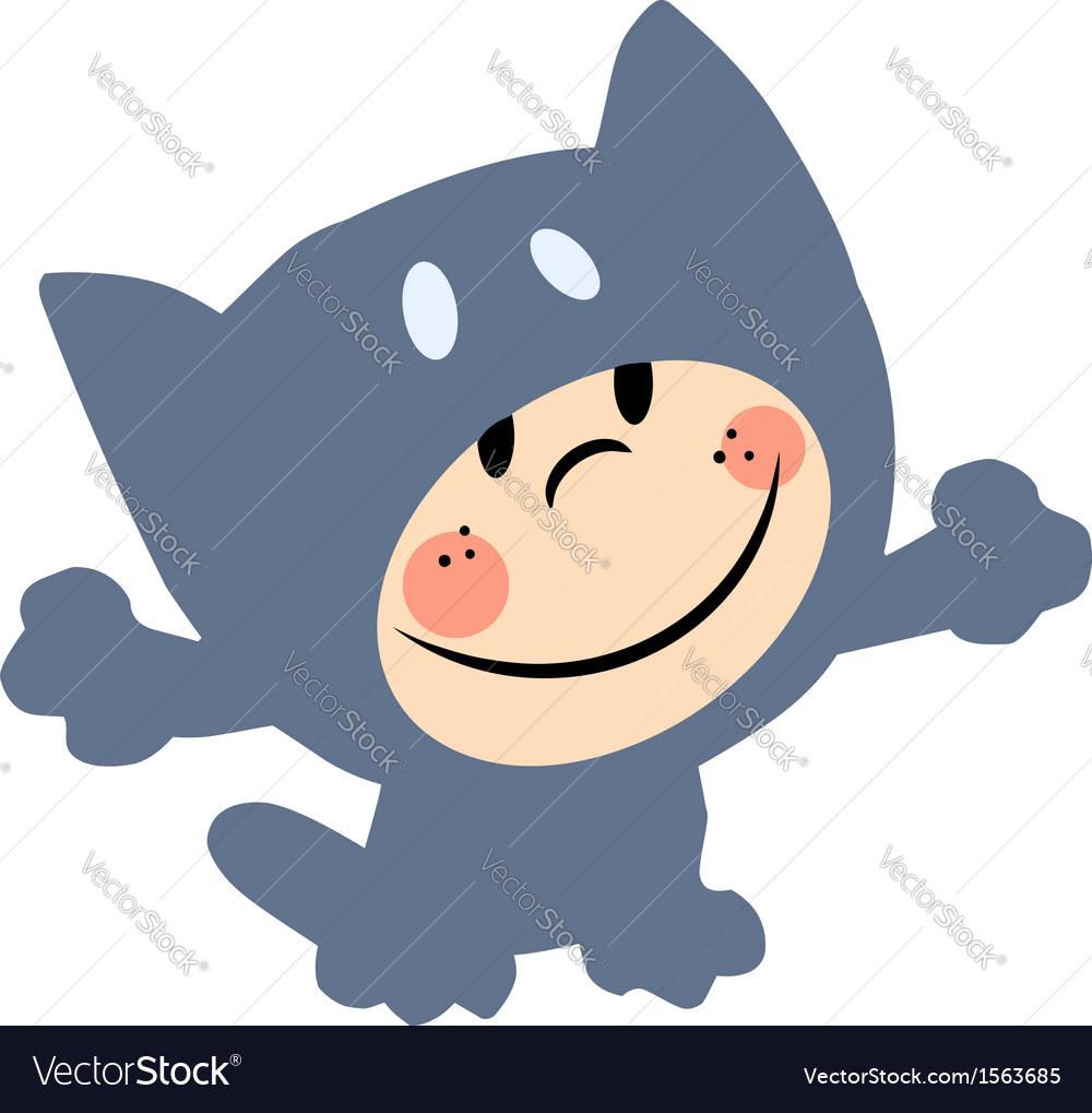 Cartoon child cat costume vector | Price: 1 Credit (USD $1)