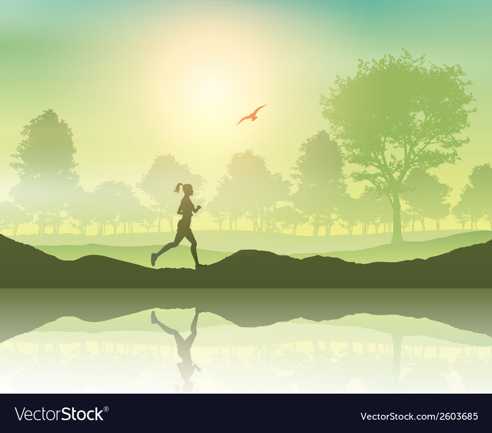 Female jogging in the countryside vector | Price: 1 Credit (USD $1)