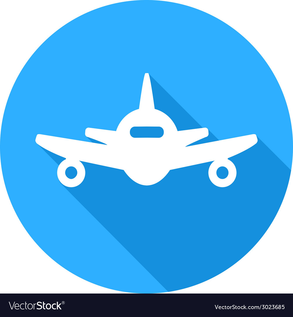 Flat long shadow air plane icon vector | Price: 1 Credit (USD $1)