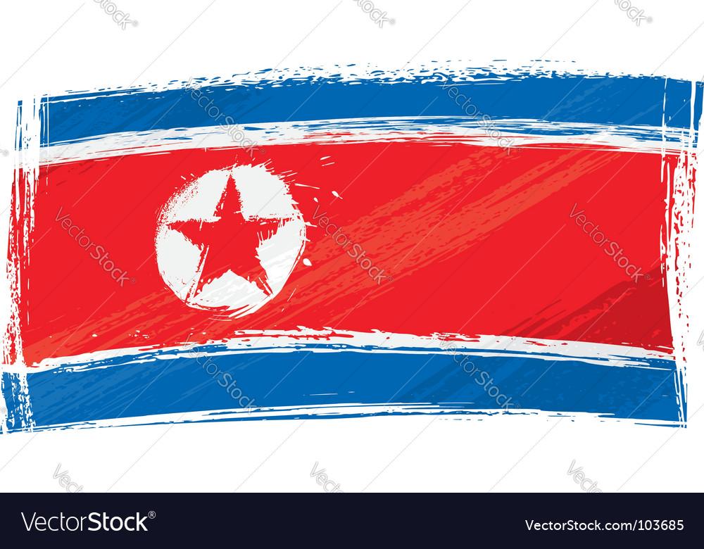 Grunge north korea flag vector