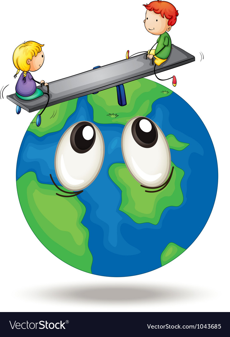 Kids playing on earth vector | Price: 3 Credit (USD $3)