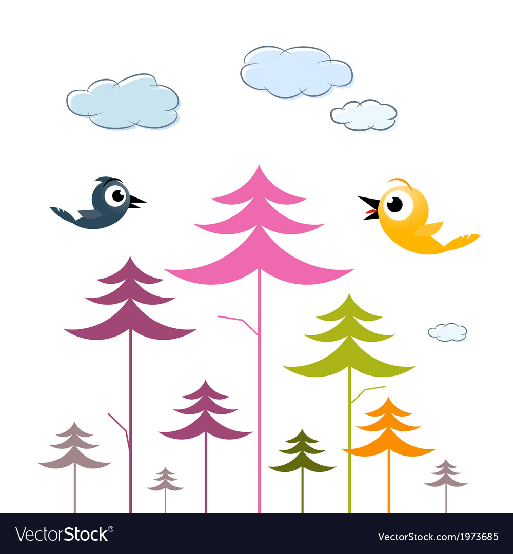 Paper trees birds and clouds vector | Price: 1 Credit (USD $1)