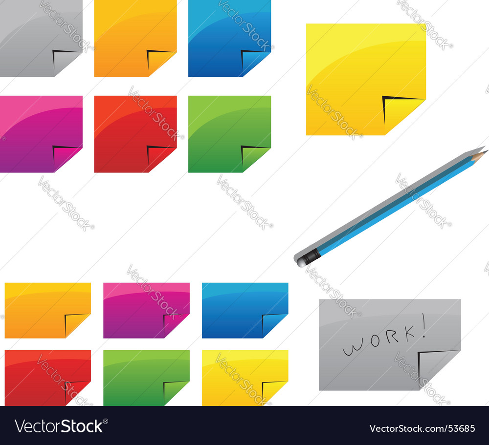 Pencil and stickers vector | Price: 1 Credit (USD $1)