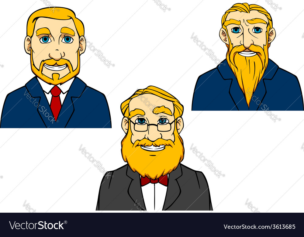 Portraits of aged men in cartoon style vector | Price: 1 Credit (USD $1)