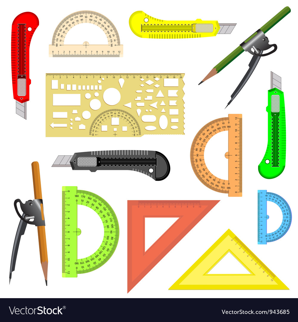 School drawing protractor compass vector | Price: 1 Credit (USD $1)
