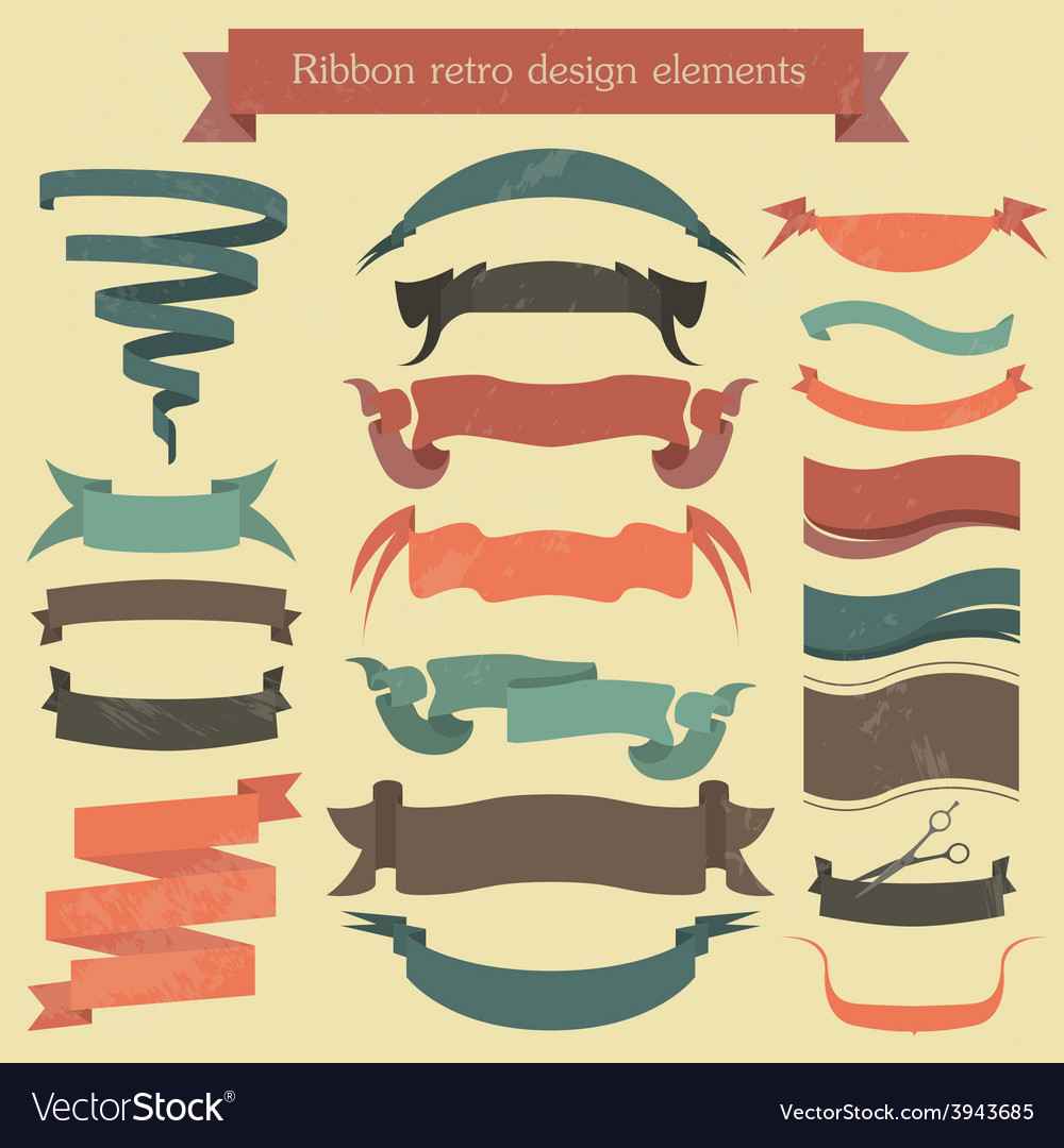 Set of retro ribbons and arrows banner vector   Price: 1 Credit (USD $1)