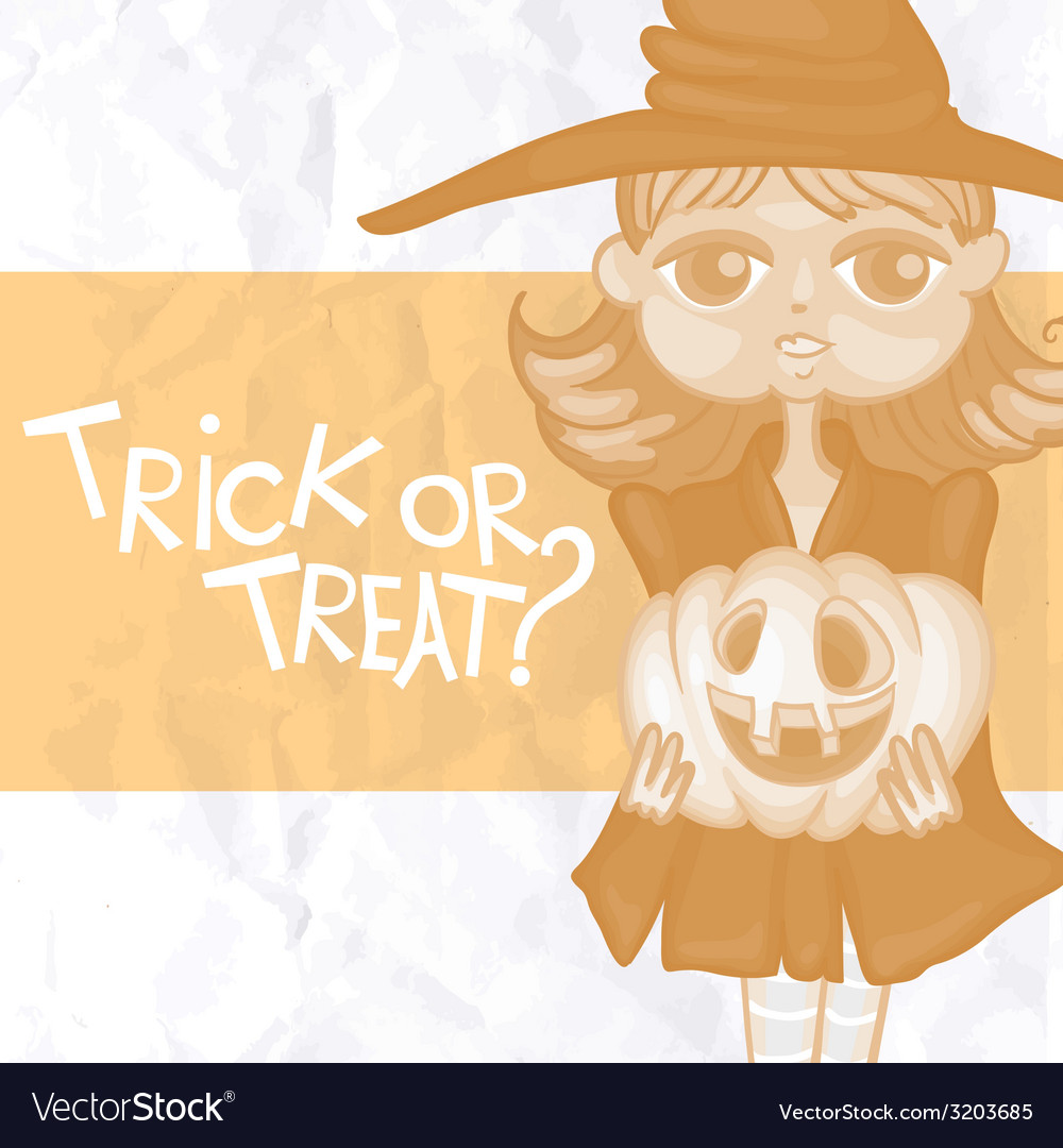 Witch girl with pumpkins vector | Price: 1 Credit (USD $1)
