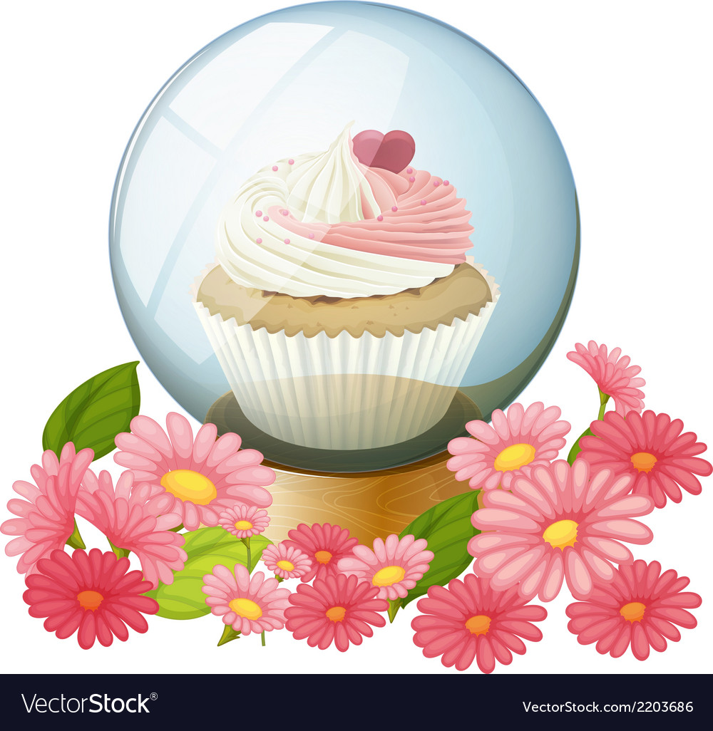 A cupcake inside the transparent ball vector | Price: 1 Credit (USD $1)