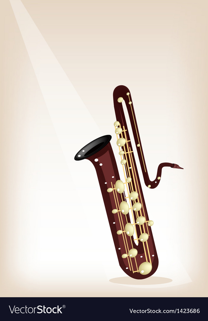 A musical bass saxophone on brown stage background vector | Price: 1 Credit (USD $1)
