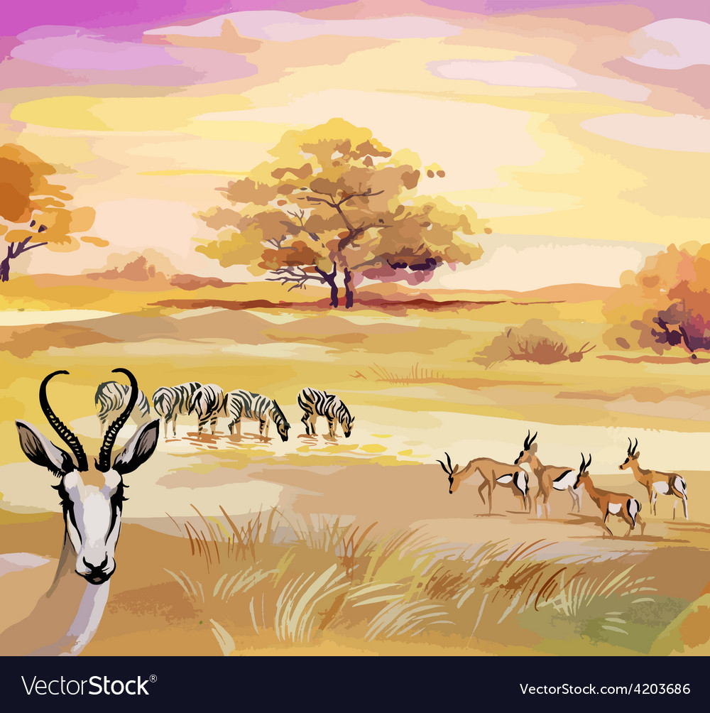 African landscape design with animals vector
