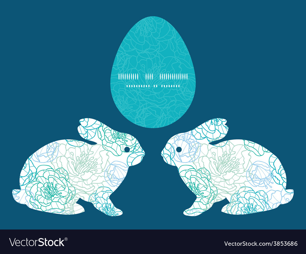 Blue line art flowers bunny rabbit vector | Price: 1 Credit (USD $1)