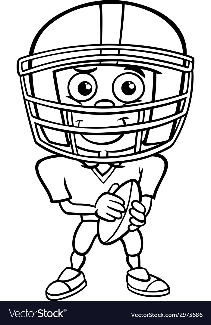 Boy football player coloring page vector | Price: 1 Credit (USD $1)