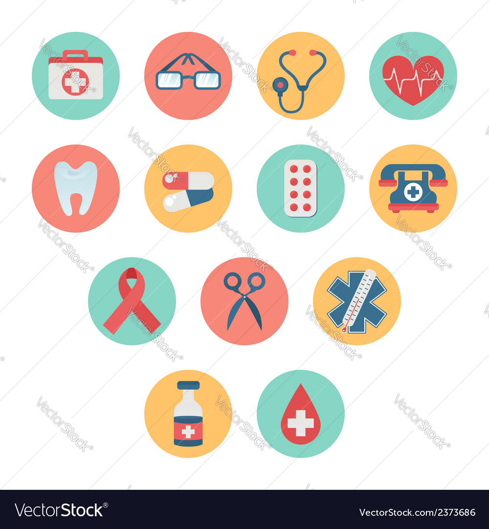Colorful medical icon set in trendy flat style vector | Price: 1 Credit (USD $1)