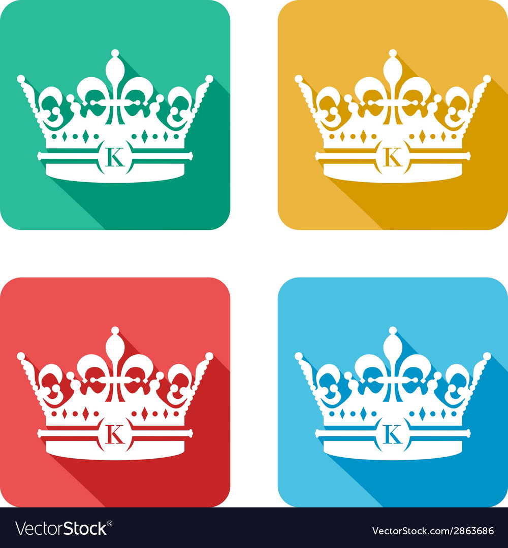 Flat crown icons vector | Price: 1 Credit (USD $1)